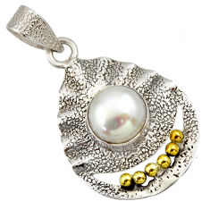 Clearance Sale- 925 silver 4.93cts victorian natural white pearl round two tone pendant d33304