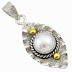 4.69cts victorian natural white pearl 925 silver two tone pendant d33305