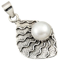 Clearance Sale- 5.53cts victorian natural white pearl 925 silver two tone pendant d33309