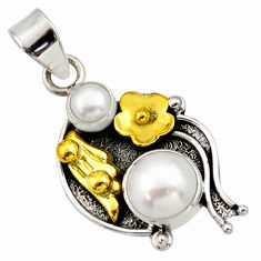 Clearance Sale- 5.87cts victorian natural white pearl 925 silver two tone pendant d33315
