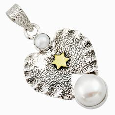 5.07cts victorian natural white pearl 925 silver two tone pendant d33317