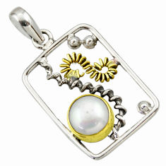 5.10cts victorian natural white pearl 925 silver two tone pendant d33320
