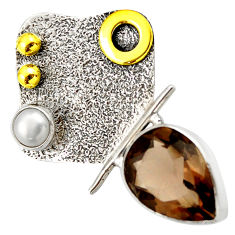 Clearance Sale- 6.84cts victorian brown smoky topaz pearl 925 silver two tone pendant d33321