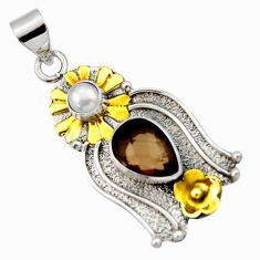 Clearance Sale- 925 silver 5.27cts victorian brown smoky topaz pearl two tone pendant d33324