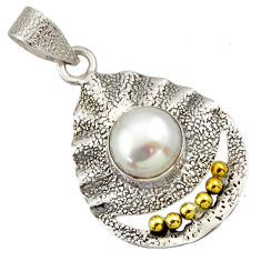5.38cts victorian natural white pearl 925 silver two tone pendant d33341