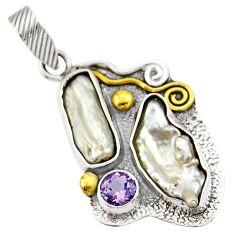 925 silver 11.23cts victorian natural white biwa pearl two tone pendant d33348