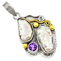 12.34cts victorian natural white biwa pearl 925 silver two tone pendant d33349
