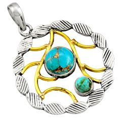 Clearance Sale- 4.38cts victorian blue copper turquoise 925 silver two tone pendant d33350