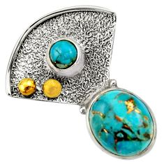 Clearance Sale- 5.54cts victorian blue copper turquoise 925 silver two tone pendant d33351