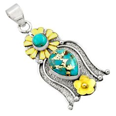 5.11cts victorian blue copper turquoise 925 silver two tone pendant d33353