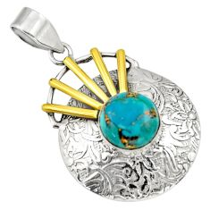 5.53cts victorian blue copper turquoise 925 silver two tone pendant d33357