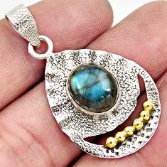 925 silver 5.09cts victorian natural blue labradorite two tone pendant d33380