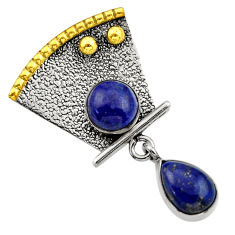 Clearance Sale- 4.21cts victorian natural blue lapis lazuli 925 silver two tone pendant d33381