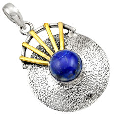 Clearance Sale- 5.60cts victorian natural blue lapis lazuli 925 silver two tone pendant d33385