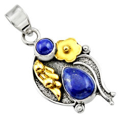 Clearance Sale- 4.22cts victorian natural blue lapis lazuli 925 silver two tone pendant d33386