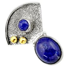 Clearance Sale- 925 silver 5.11cts victorian natural blue lapis lazuli two tone pendant d33387