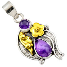 925 silver 4.03cts victorian natural purple amethyst two tone pendant d33391