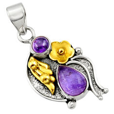 Clearance Sale- 4.22cts victorian natural purple amethyst 925 silver two tone pendant d33392