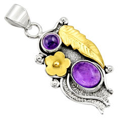 Clearance Sale- 4.40cts victorian natural purple amethyst 925 silver two tone pendant d33393