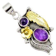 Clearance Sale- 4.40cts victorian natural purple amethyst 925 silver two tone pendant d33394