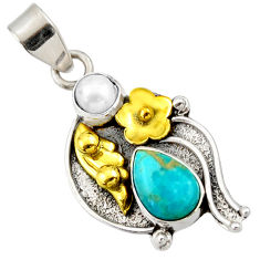 Clearance Sale- 4.40cts victorian green arizona mohave turquoise silver two tone pendant d33396