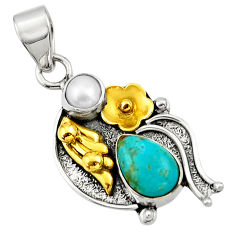 4.52cts victorian arizona mohave turquoise 925 silver two tone pendant d33397