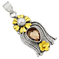 Clearance Sale- 5.27cts victorian brown smoky topaz 925 silver two tone flower pendant d33403