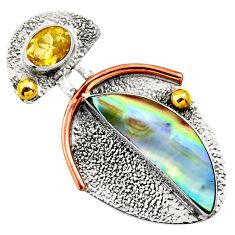 5.87cts victorian natural abalone paua seashell silver two tone pendant d33406