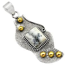 Clearance Sale- 925 silver 4.38cts victorian natural white dendrite opal two tone pendant d33407