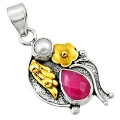Clearance Sale- 4.40cts victorian natural red ruby pearl 925 silver two tone pendant d33412