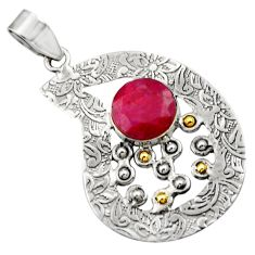 Clearance Sale- 5.95cts victorian natural red ruby 925 sterling silver two tone pendant d33413