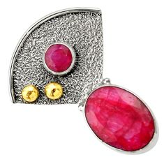 Clearance Sale- 6.72cts victorian natural red ruby 925 sterling silver two tone pendant d33416