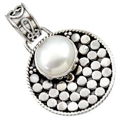 5.53cts natural white pearl 925 sterling silver pendant jewelry d33423