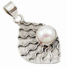 Clearance Sale- 5.36cts natural white pearl round 925 sterling silver pendant jewelry d33425