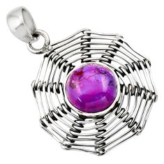 Clearance Sale- 5.36cts purple copper turquoise 925 sterling silver pendant jewelry d33429