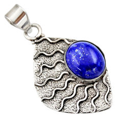 Clearance Sale- 5.54cts natural blue lapis lazuli 925 sterling silver pendant jewelry d33430