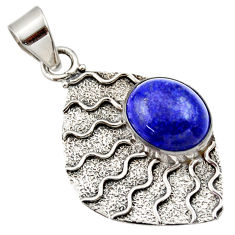 Clearance Sale- 5.54cts natural blue lapis lazuli 925 sterling silver pendant jewelry d33431