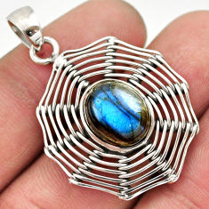 Clearance Sale- 5.53cts natural blue labradorite 925 sterling silver pendant jewelry d33439