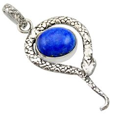 Clearance Sale- 5.12cts natural blue lapis lazuli 925 sterling silver snake pendant d33446