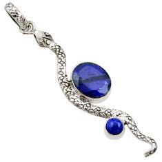 Clearance Sale- 925 silver 5.87cts natural blue sapphire lapis lazuli snake pendant d33450