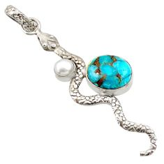 925 sterling silver 5.53cts blue copper turquoise pearl snake pendant d33454