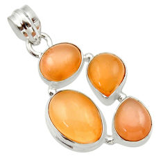Clearance Sale- 15.60cts natural yellow moonstone 925 sterling silver pendant jewelry d33469