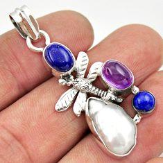 10.64cts natural white biwa pearl amethyst 925 silver dragonfly pendant d33492