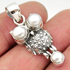 3.28cts natural white pearl 925 sterling silver owl pendant jewelry d33493