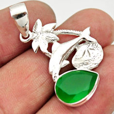 925 sterling silver 5.23cts natural green chalcedony dolphin pendant d33494