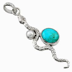 Clearance Sale- 925 silver 5.82cts green arizona mohave turquoise pearl snake pendant d33508