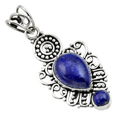 Clearance Sale- 6.72cts natural blue lapis lazuli 925 sterling silver pendant jewelry d33521