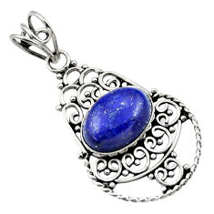 Clearance Sale- 6.36cts natural blue lapis lazuli 925 sterling silver pendant jewelry d33523