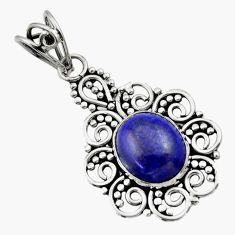 Clearance Sale- 925 sterling silver 5.11cts natural blue lapis lazuli pendant jewelry d33524