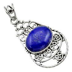 Clearance Sale- 9.05cts natural blue lapis lazuli 925 sterling silver pendant jewelry d33526